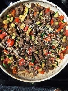 Beef sirloin, sesame seeds