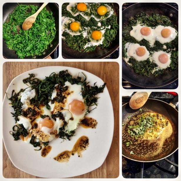 Baked eggs, arugula